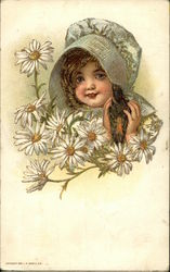 Little Girl With Bonnet Surrounded by Daisies