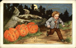 A Halloween Greeting - Ghouls Chasing Little Boy