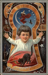 Child Framed by Keyhole With Witch Flying Above