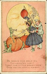 Pumpkins, Green Imps, And Two Children In Costume