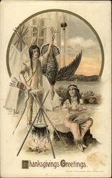 Indian Couple With Turkey and Campfire, Teepee, Bow & Arrows
