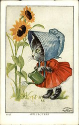 Sun Flowers, Cat in Red Dress and Blue Checked Bonnet Waters Sun Flowers