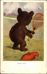 Bear Playing Tennis Postcard