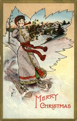 Woman On Snowshoes And With Holly Branches