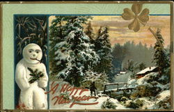 Winter Scene With Snowman Holding Holly