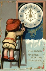 Child on Ladder By Clock