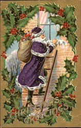 Christmas Greetings - Santa Climbs Ladder with Sack of Toys