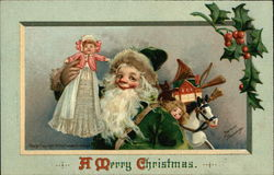 A Merry Christmas with Santa and Toys Postcard