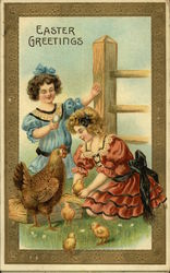Easter Greetings with Two Girls and Chicks