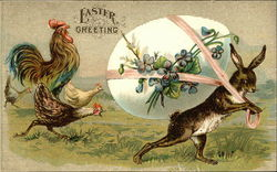 Easter Greeting with Chickens and Bunny Carrying Large Egg