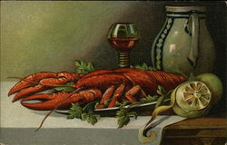 Still Life of Lobster on a Platter, Lemon, Glass of Wine and Green Pottery Pitcher