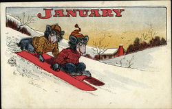 January, Two Bears in Sweaters Riding Down Hill on Red Sled