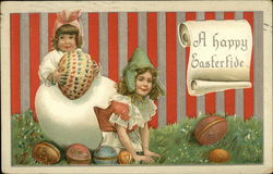 A Happy Eastertide - Children with Eggs
