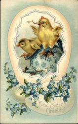 Fond Easter Greeting - Chicks and Forget-Me-Nots