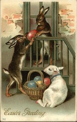 Easter Greeting - Rabbits with Eggs and Lamb