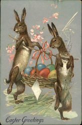 Easter Greetings with Bunnies Carrying Basket of Colorful Eggs