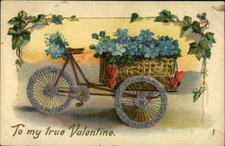 Bicycle Cart With Blue Flowers and Hearts