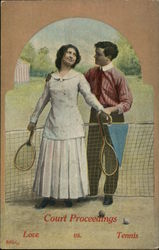 Woman And Man Hold Tennis Rackets Near The Net Postcard