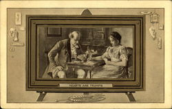 Vignette Featuring Man And Woman Playing Cards
