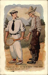 Old Timer Speaks To A Man Holding Tennis Racket Postcard