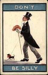 Man In Top Hat And Tails, With Bouquet And Tiny Dog On Leash