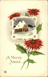 A Merry Christmas with Snow Scene and Poinsettias