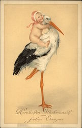 Baby in Pink Bonnet Riding Stork