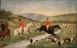 Fox Hunting Scene With Horses, Riders, And Dogs