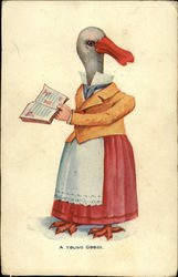 Goose Dressed As Lady Reading A Book
