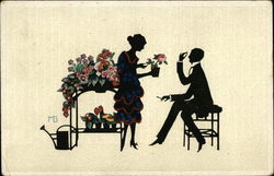 Silhouettes of Man and Woman with Flowers
