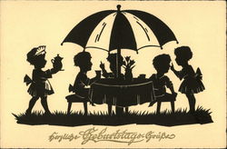 Children Gathering Under Umbrella For Picnic