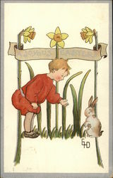 A Joyous Easter - Child with Bunny