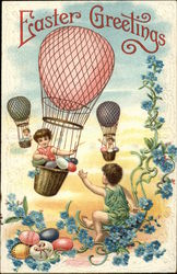 Easter Greetings - Children in Hot-Air Balloons and Eggs