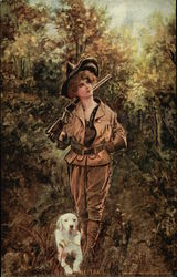 Woman Hunter in Woods with White Dog