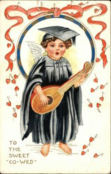Angel in Cap and Gown Playing Lute