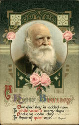 A Happy Birthday with Old Gentleman and Pink Roses