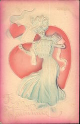 To My Valentine - Embossed Woman and Hearts Postcard