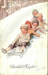 Five Children On A Sled Play In The Snow
