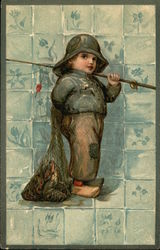 Dutch Boy With Net of Fish and Fishing Pole