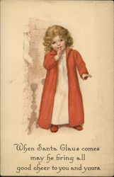 Little Girl In Robe And Nightgown Holds Finger To Lips Postcard