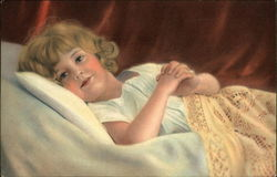 Young Blonde Girl Lying in Bed Under Yellow Lace Blanket