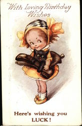 Little Girl Holding Kitty and Boot