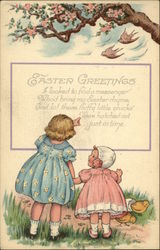 Easter Greetings with Young Girls, Pink Flowers and Chicks