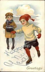 Happy New Year Greetings with Children Skating