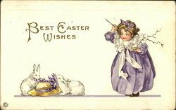 Best Easter Wishes with Young Girl and Bunnies