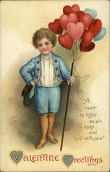 Boy in Blue Delivering Heart Balloon Bouquet