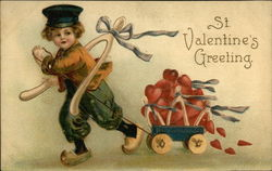 St. Valentine's Greeting - Little Dutch Boy Pulling Cart Full of Hearts
