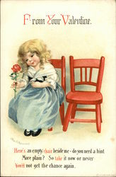 Little Girl Holding Rose Sits Beside An Empty Chair