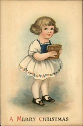 A Merry Christmas with Young Girl holding Book