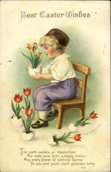 Best Easter Wishes with Dutch Boy and Tulips